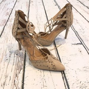 MIA lace up nude heels * size 9.5